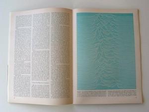 Gráfico del púlsar CP 1919 publicado en Scientific American en 1971.