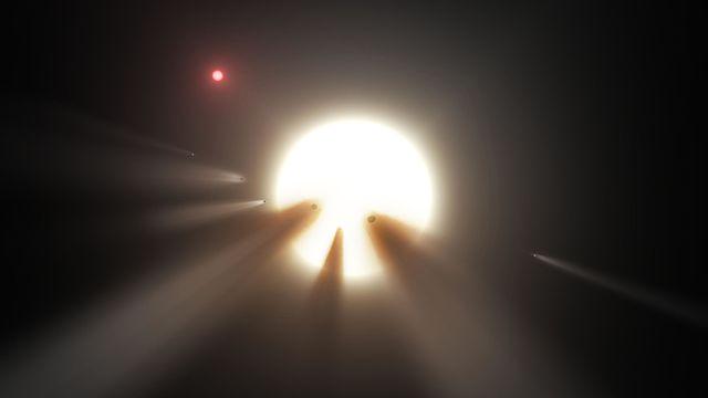Ilustración de fragmentos de cometas alrededor de una estrella. Imagen de NASA/JPL-Caltech.