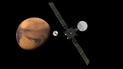 Ilustración de TGO y Schiaparelli separándose antes de llegar a Marte. Imagen de ESA/ATG medialab.
