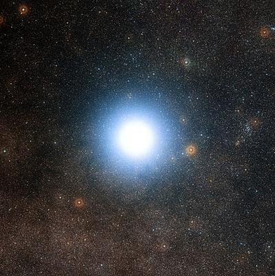 El sistema triple Alfa Centauri. Imagen de ESO/DSS 2.