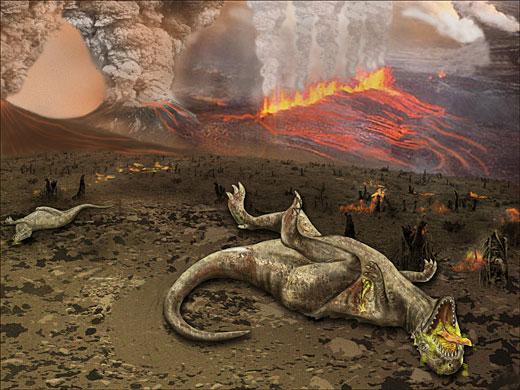 Representación de la muerte de dinosaurios por erupciones volcánicas. Imagen de Wikipedia.