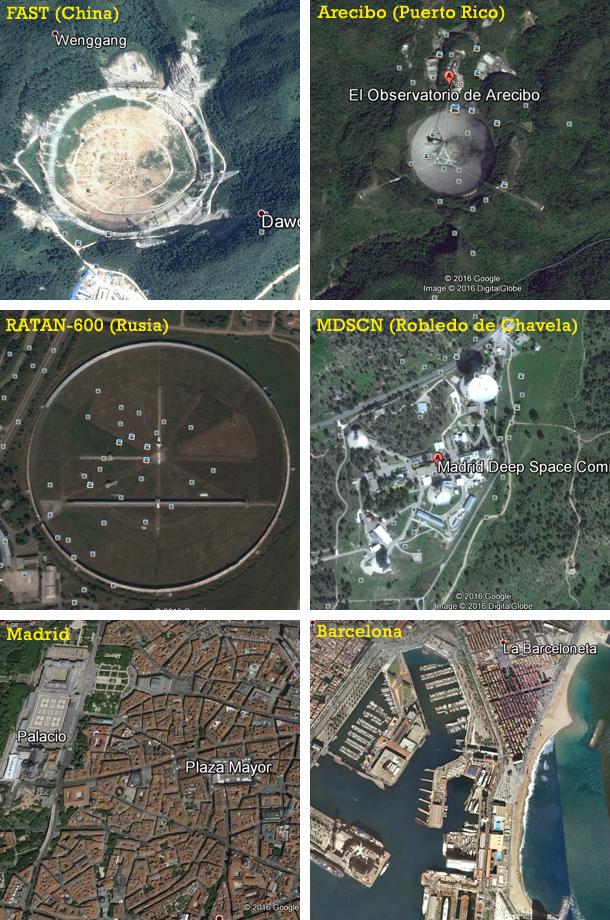 Comparación de tamaños a escala del FAST, Arecibo, RATAN-600, la estación de seguimiento de Robledo de Chavela, el centro de Madrid y el puerto de Barcelona. Imágenes de Google Earth, altura del punto de vista: dos kilómetros.