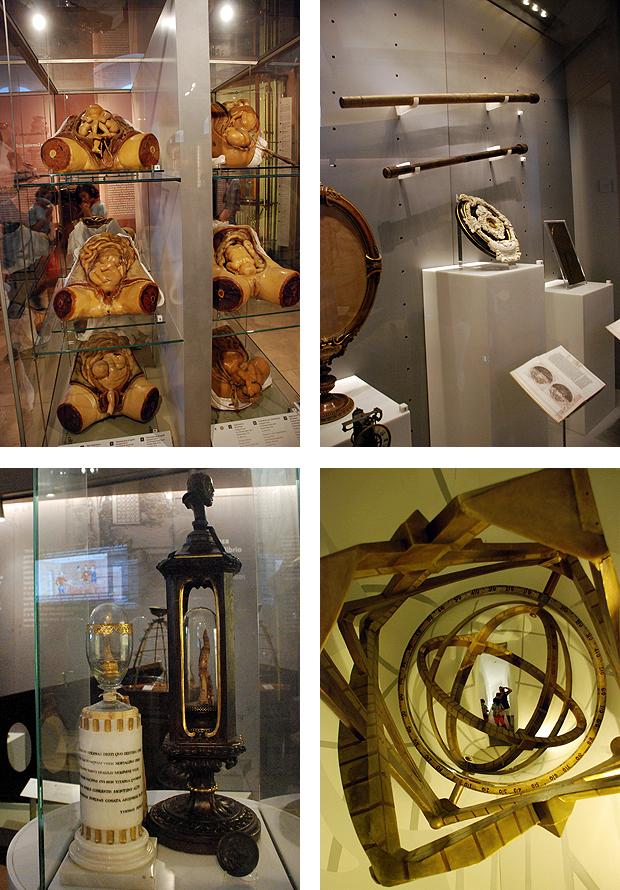De izquierda a derecha y de arriba abajo: modelos anatómicos en cera de fetos en el útero materno; telescopios y obras de Galileo; huesos de los dedos de Galileo; anamorfosis de una esfera armilar en un espejo convexo. Imágenes de J. Y.