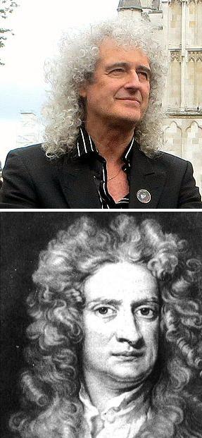 Arriba, Brian May. Abajo, Isaac Newton. Imágenes de Wikipedia.
