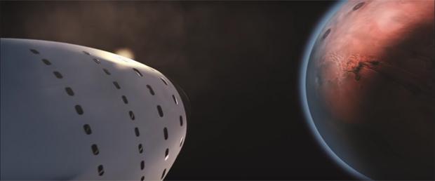 Un fotograma del vídeo promocional de SpaceX sobre su sistema de transporte a Marte ITS.