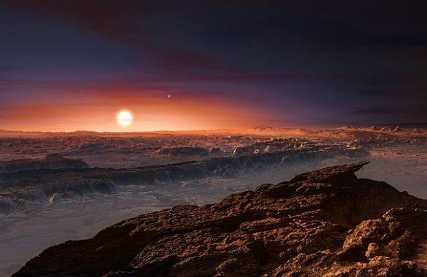 Ilustración de un posible paisaje en el exoplaneta Proxima Centauri b. Imagen de ESO/M. Kornmesser vía Wikipedia.