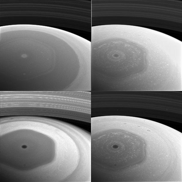 El hexágono del polo norte de Saturno, fotografiado por la sonda Cassini. Cada una de las tomas corresponde a una longitud de onda diferente. Imagen de NASA/JPL-Caltech/Space Science Institute.