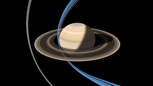 En gris, las órbitas de Cassini rozando el anillo F. En azul, las 22 órbitas previstas entre Saturno y sus anillos. La órbita final figura en color naranja. Imagen de NASA/JPL-Caltech.
