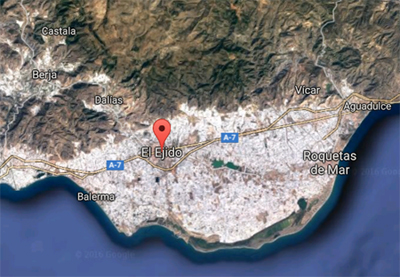 El mar de plástico de los invernaderos de El Ejido. Imagen de Google.