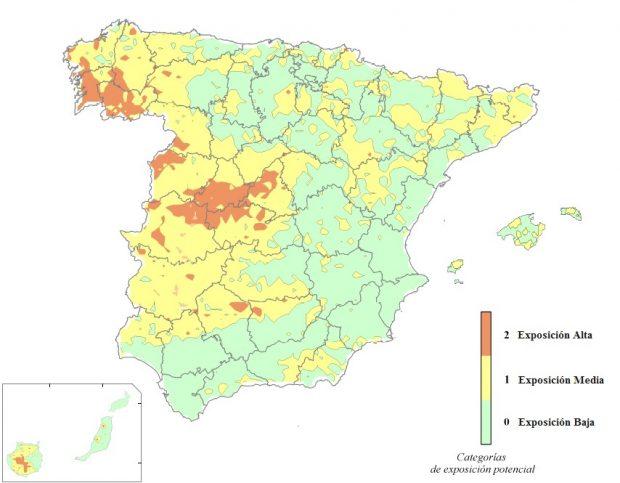 Mapa de riesgo del radón en España. Imagen del Consejo de Seguridad Nuclear.
