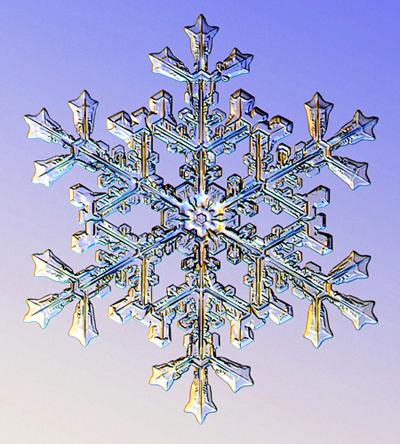 Copo de nieve fotografiado al microscopio. Imagen de Kenneth Libbrecht.