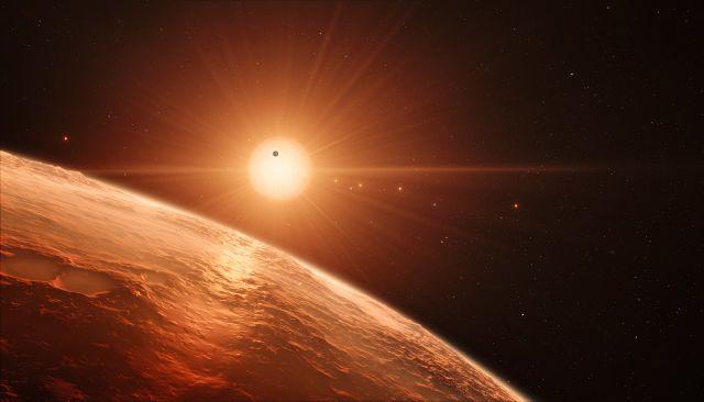 Ilustración del sistema TRAPPIST-1. Imagen de ESO/N. Bartmann/spaceengine.org.