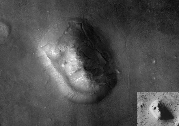 """La """"cara"""" de Marte fotografiada por la sonda MRO. En el recuadro, imagen tomada por la Viking 1. Imágenes de NASA."""