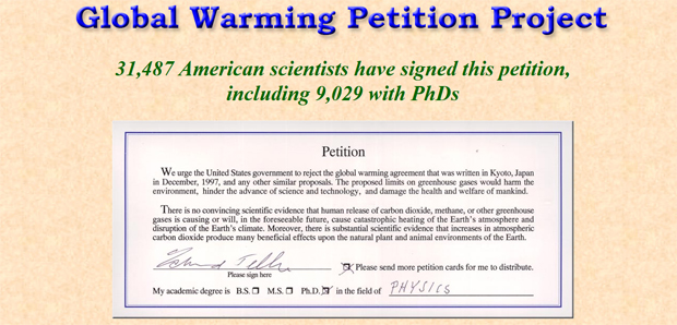 Captura de pantalla de la web Oregon Global Warming Petition Project.