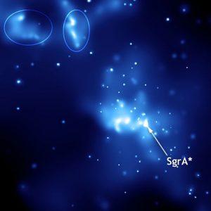 Imagen de rayos X de Sagitario A* tomada por el observatorio Chandra. Imagen de NASA.