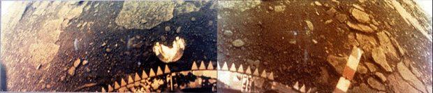 Fotografía tomada en 1981 por la sonda Venera-13 en la superficie de Venus. Imagen de Wikipedia.