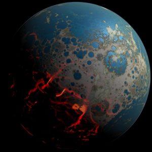Ilustración de la Tierra temprana durante el Bombardeo Intenso Tardío. Imagen de Simone Marchi / NASA.