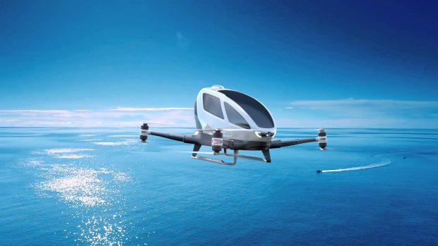 El vehículo aéreo personal autónomo Ehang 184. Imagen de YouTube.
