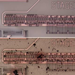 Circuito integrado de carburo de silicio, antes (arriba) y después (abajo) de probarse en un simulador de Venus. Imagen de NASA.