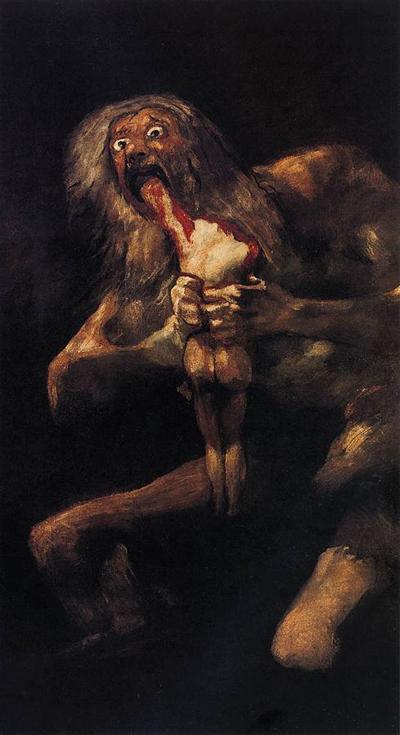 Saturno devorando a su hijo, de Goya. Imagen de Wikipedia.