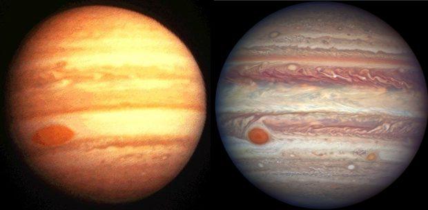 Dos imágenes de Júpiter: izquierda, diciembre de 1973 (Pioneer 10); derecha, abril de 2017 (Hubble). Imágenes de NASA.