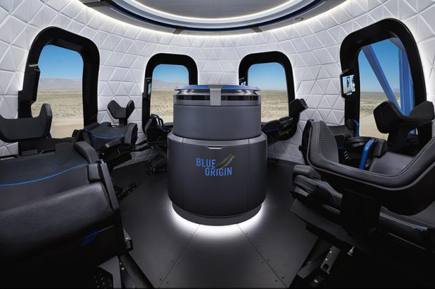Interior de la nave New Shepard de Blue Origin. Imagen de Blue Origin.