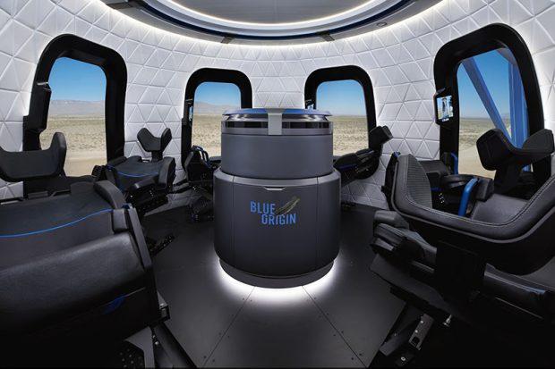 Interior de la nave New Shepard de Blue Origin. Imagen de Blue Origin.