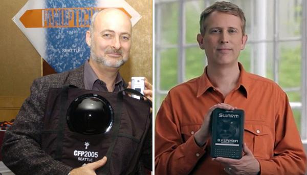 Los escritores David Brin (izquierda) y B. V. Larson (derecha). Imágenes de Wikipedia y YouTube.