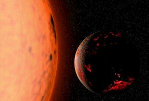 La Tierra dentro de 5.000 a 7.000 millones de años, con el Sol convertido en una gigante roja. Imagen de Wikipedia.