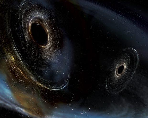 Ilustración de un agujero negro binario antes de la fusión. Imagen de LIGO.