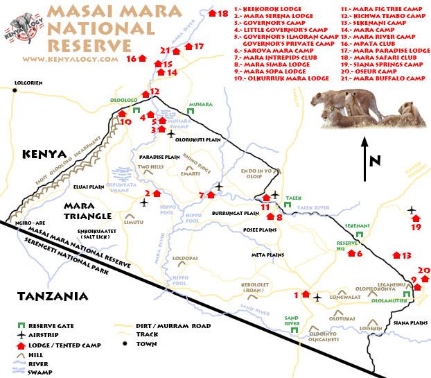 Mapa de la reserva de Masai Mara. Imagen © Javier Yanes.