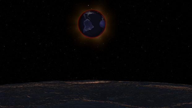 Simulación de un eclipse lunar visto desde la Luna. Imagen de NASA's Scientific Visualization Studio.