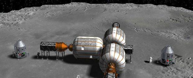 Concepto de hábitat lunar. Imagen de ULA/Bigelow Aerospace.