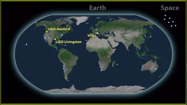 Los puntos marcan todos los observatorios en la Tierra y en el espacio que registraron la fusión entre dos estrellas de neutrones. Imagen de Abbott et al. 2017.