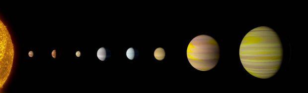 Ilustración del sistema Kepler-90. Imagen de NASA/Wendy Stenzel.