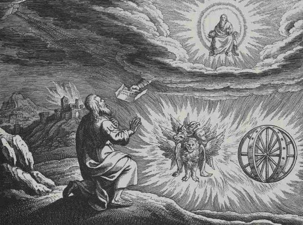 Grabado de la visión de Ezequiel, por Matthaeus (Matthäus) Merian (1593-1650). Imagen de Wikipedia.