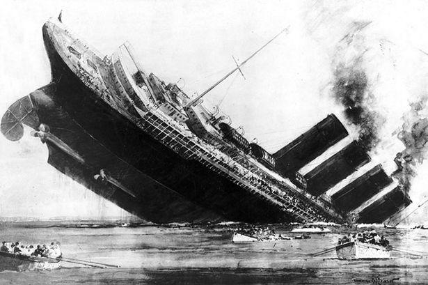 Ilustración del hundimiento del Lusitania por Norman Wilkinson. Imagen de Circumscriptor / Wikipedia.