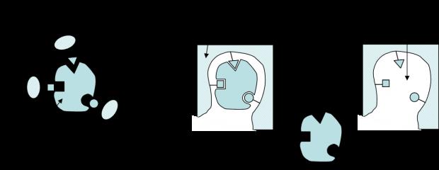 Funcionamiento de los polímeros con impronta molecular. La molécula molde (template) deja un hueco en la matriz de polímero que se emplea después para atrapar las moléculas similares. Imagen de Satanaka / Wikipedia.