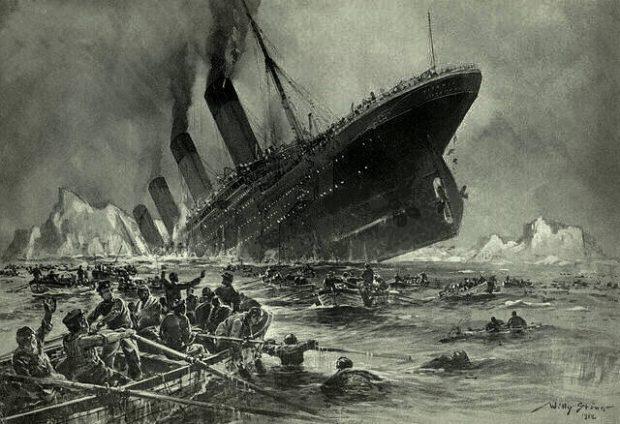 El hundimiento del 'Titanic'. Dibujo de Willy Stöwer / Wikipedia.