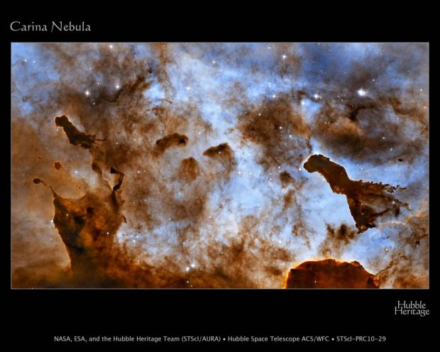 La nebulosa de la Quilla o Carina. Imagen de NASA, ESA, and the Hubble Heritage Project (STScI/AURA).