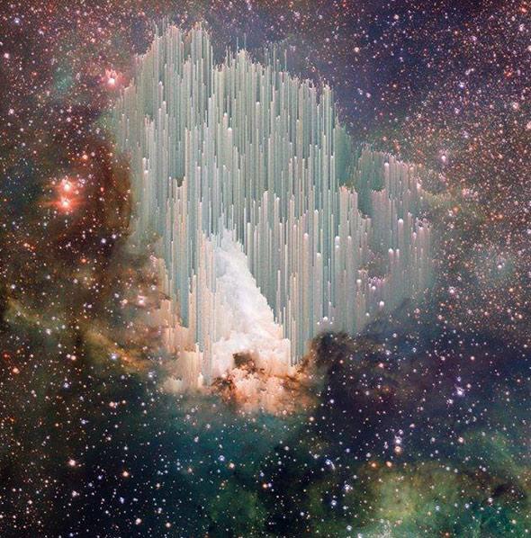 Imagen retocada digitalmente de la nebulosa Omega o del Cisne. Creación de Adam Ferriss sobre imagen de ESO/INAF-VST/OmegaCAM. Acknowledgement: OmegaCen/Astro-WISE/Kapteyn Institute.