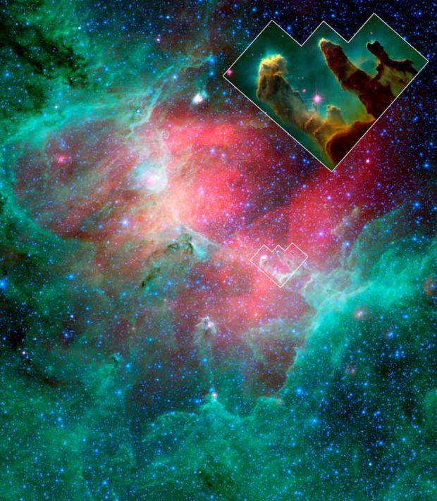 """Imagen del telescopio espacial Spitzer de la nebulosa del Águila, con la ubicación y el detalle de los """"pilares de la creación"""". Imagen de NASA/JPL-Caltech/N. Flagey/MIPSGAL Science Team."""