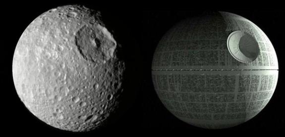 La luna de Saturno Mimas y la Estrella de la Muerte. Imagen de NASA / Lucasfilm.