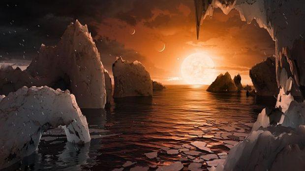 Ilustración artística de la superficie del exoplaneta TRAPPIST-1f. Imagen de NASA / JPL-Caltech.