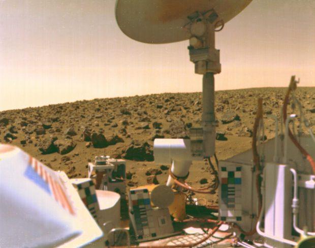 Imagen tomada por la sonda Viking 2 en Marte en 1976. Imagen de NASA.