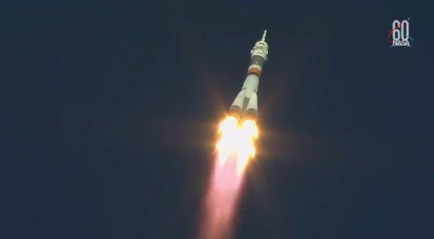 Imagen del lanzamiento del cohete Soyuz el pasado 11 de octubre, antes del fallo que obligó a abortar la misión. Imagen de NASA.