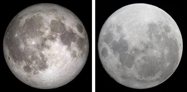 La luna llena desde el hemisferio norte (izquierda) y desde el sur (derecha). Imágenes de NASA y A. Sparrow / Flickr / CC.