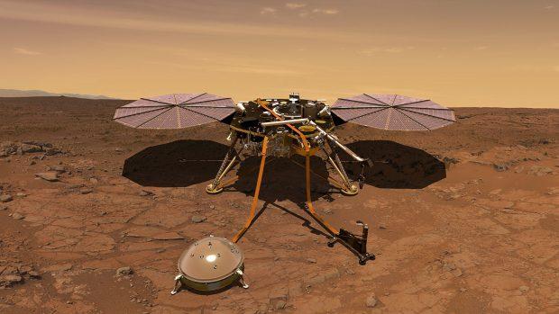 Ilustración de la sonda InSight en la superficie de Marte. Imagen de NASA/JPL-Caltech.