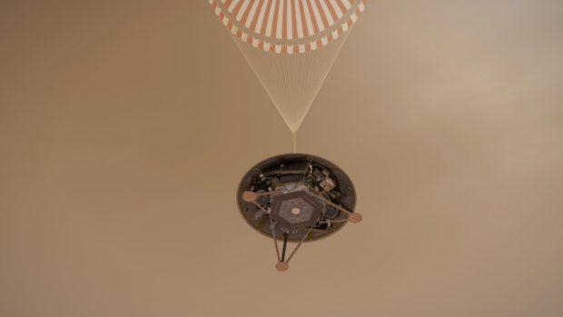 Ilustración del descenso de InSight en Marte. Imagen de NASA/JPL-Caltech.
