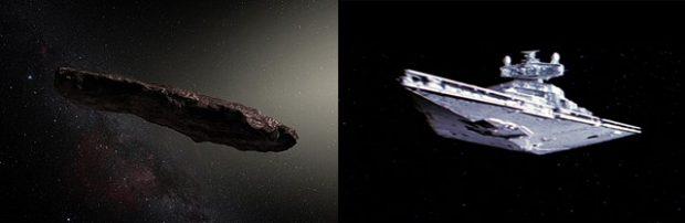 A la izquierda, ilustración de 'Oumuamua (ESO/M. Kornmesser). A la derecha, destructor imperial de Star Wars (20th Century Fox).